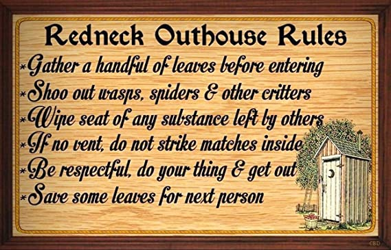 Amazon.com: (Redneck Outhouse Rules) WALL DECOR RUSTIC PRIMITIVE ...