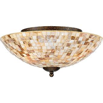 quoizel my1613ml monterey mosaic round pen shell flush mount ceiling lighting 3lt malaga