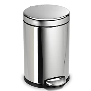 simplehuman 4.5 Liter / 1.2 Gallon Compact Stainless Steel Round Bathroom Step Trash Can, Polished Stainless Steel