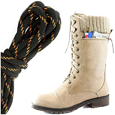 Women's Combat Style Lace up Ankle Bootie Round Toe Military Knit Credit Card Knife Money Wallet Pocket Boots Navy Blue White