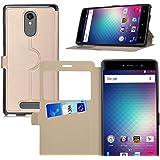 BLU Vivo 5R case, KuGi ® BLU Vivo 5R case - BW style High quality ultra-thin PU stand Case for BLU Vivo 5R smartphone.(Gold)