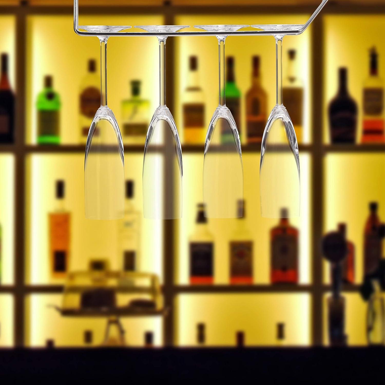 Gl/äserschiene 33,5 cm 10 x Weinglashalter f/ür je 4 Gl/äser h/ängend Stielglashalter Bar /& K/üche Edelstahl silber