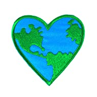 Love Earth, Heart Logo Iron on Patches