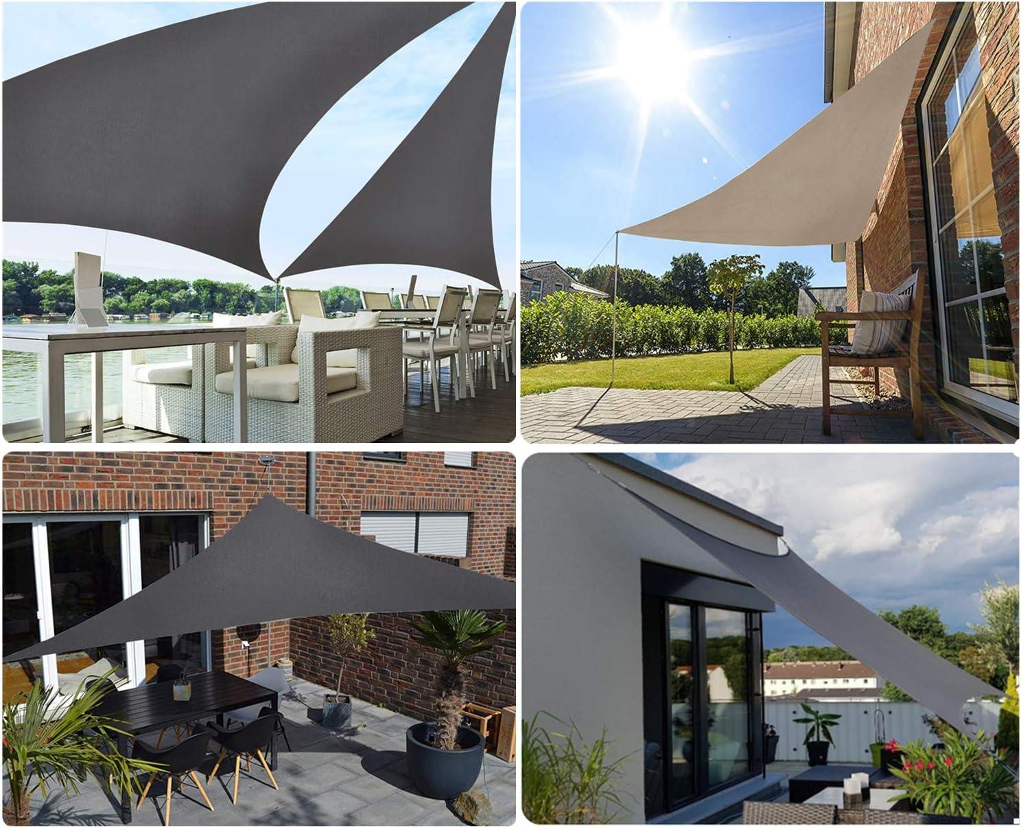 Sekey Toldo Vela de Sombra Triangular Protección Rayos UV, Resistente Impermeable Transpirable para Patio Exteriores Jardín, 3x3x3m Antracita, con Cuerda Libre: Amazon.es: Jardín