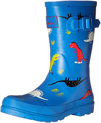 Joules Boys' Printed Welly Rain Boot, Blue Skatersaurus, 9 M US Toddler
