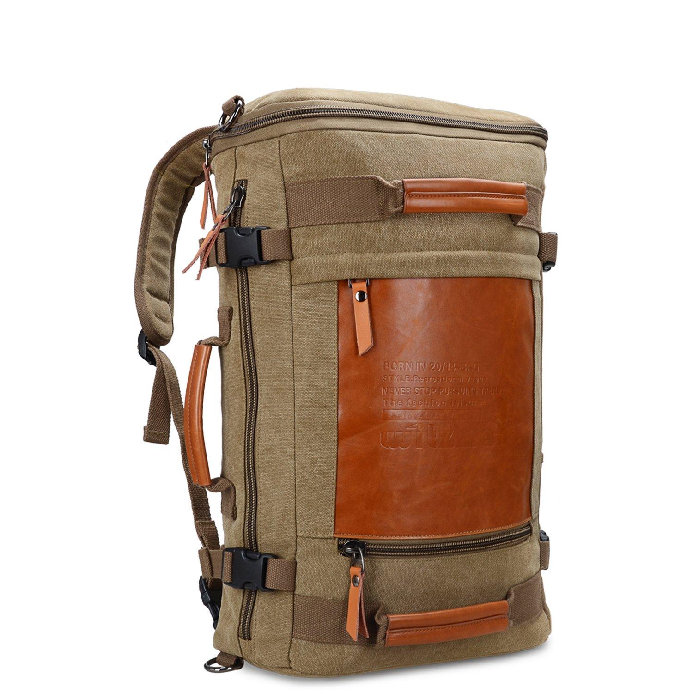 WITZMAN Men Vintage Canvas Rucksack Travel Duffel Backpack Retro Hiking Bag 2033 (19 inch Green) by WITZMAN (Image #1)
