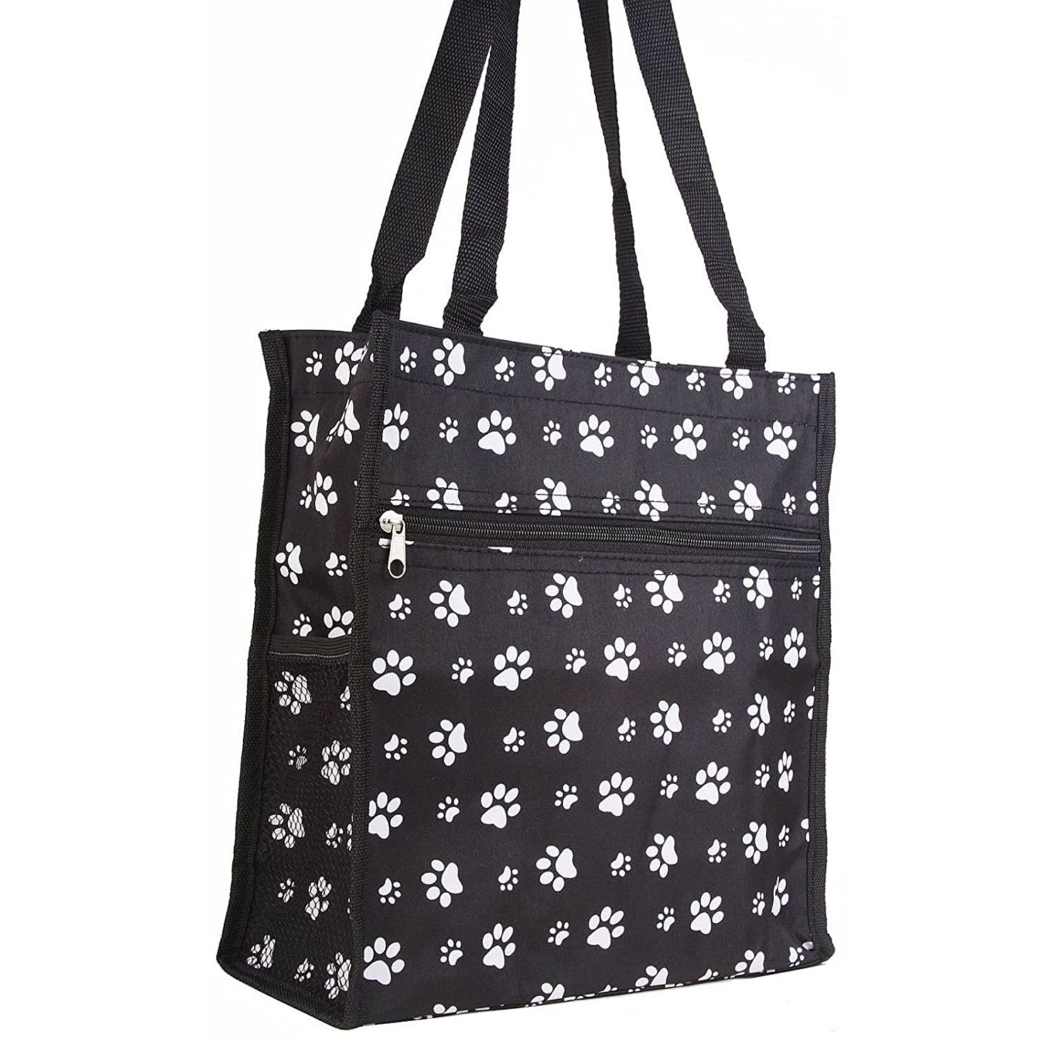 amazon com prima marketing paw print travel tote bag black and