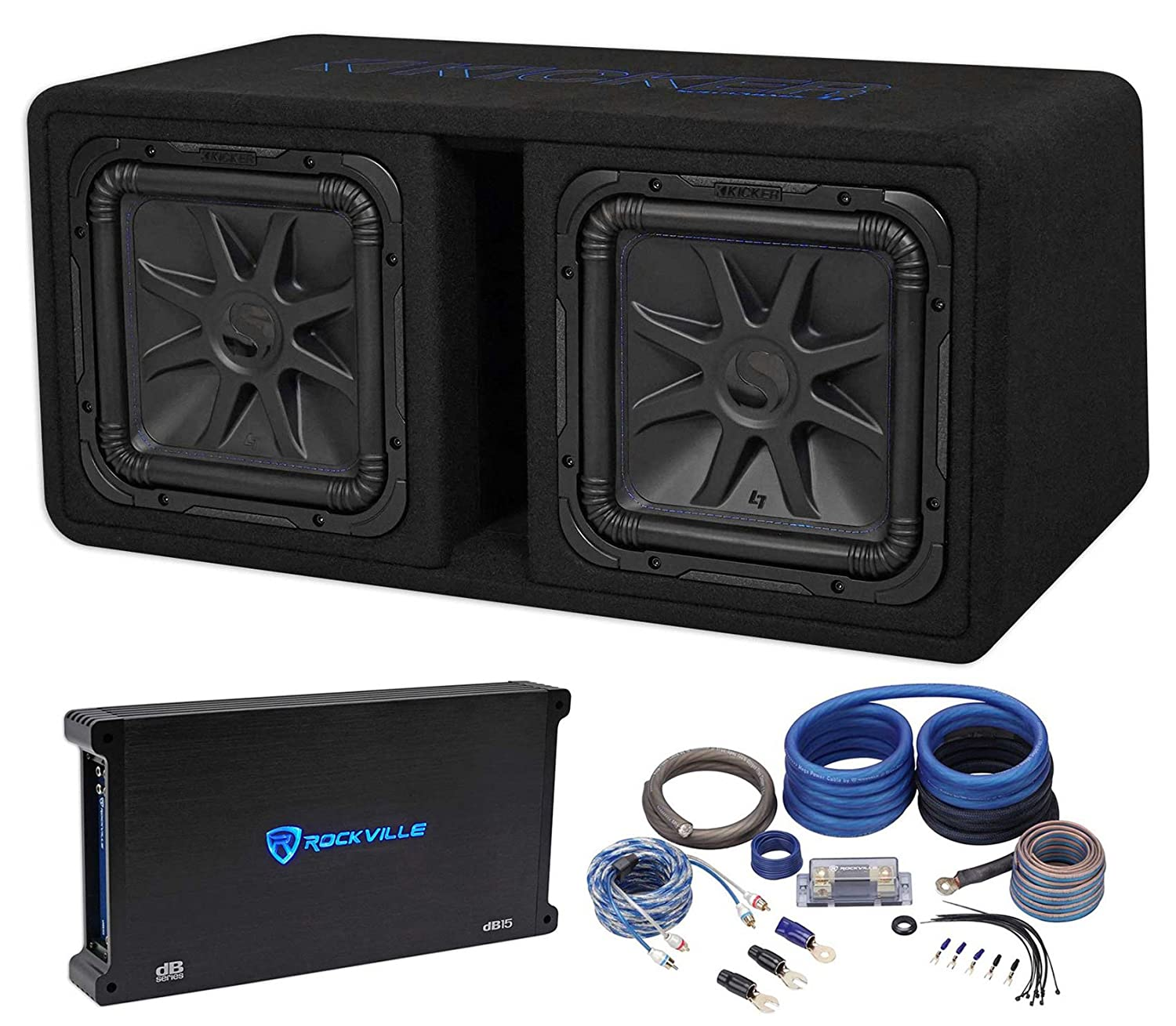 "Amazon.com: Kicker 44DL7S122 Dual 12"" 3000w L7 Solo-Baric L7S Loaded  Subwoofer Box+Amp+Wires: Car Electronics"