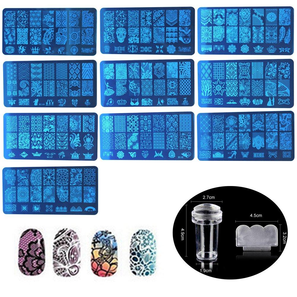 Nail Art Timbre Estampage Modèles Plaques Stamper Scraper Kit Nail Manucure Imprimer Outil Set Ofanyia