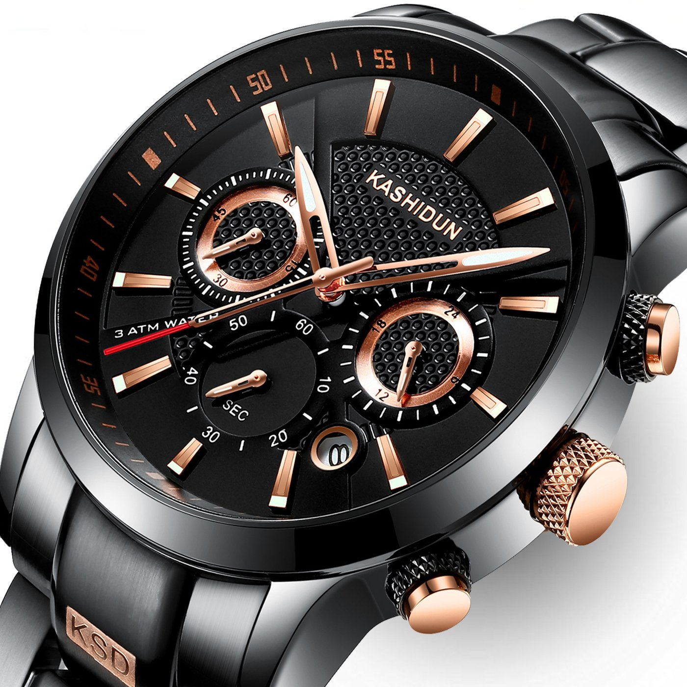 KASHIDUN Men's Watches Luxury Sports Military Army Quartz Waterproof Wristwatch Calendar Date Stainless Steel Band Black Color Rose Gold Hands