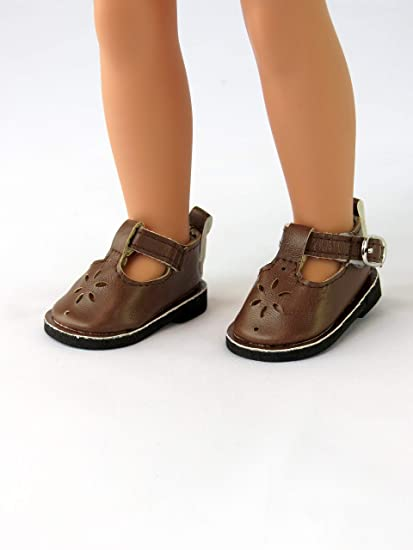 81dc3fa347a3 Amazon.com: American Fashion World Brown Mary Janes | 14 inch Wellie Wisher  Doll Accessories: Toys & Games