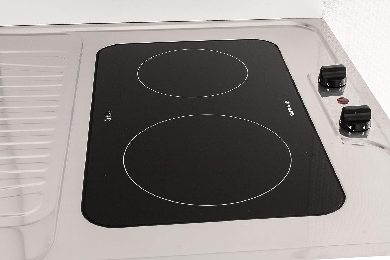 MEBASA MK0006 Singleküche, Miniküche 100 cm Weiß mit Duo-Ceran ... | {Singleküche miniküche 25}