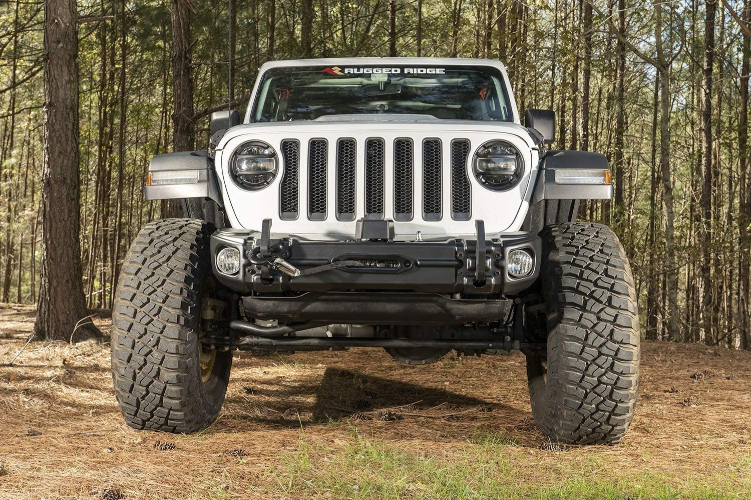 Rugged Ridge 11549.04 Arcus Front Bumper w//Winch Tray /& Tow Hooks 18-19 Jeep JL//JT