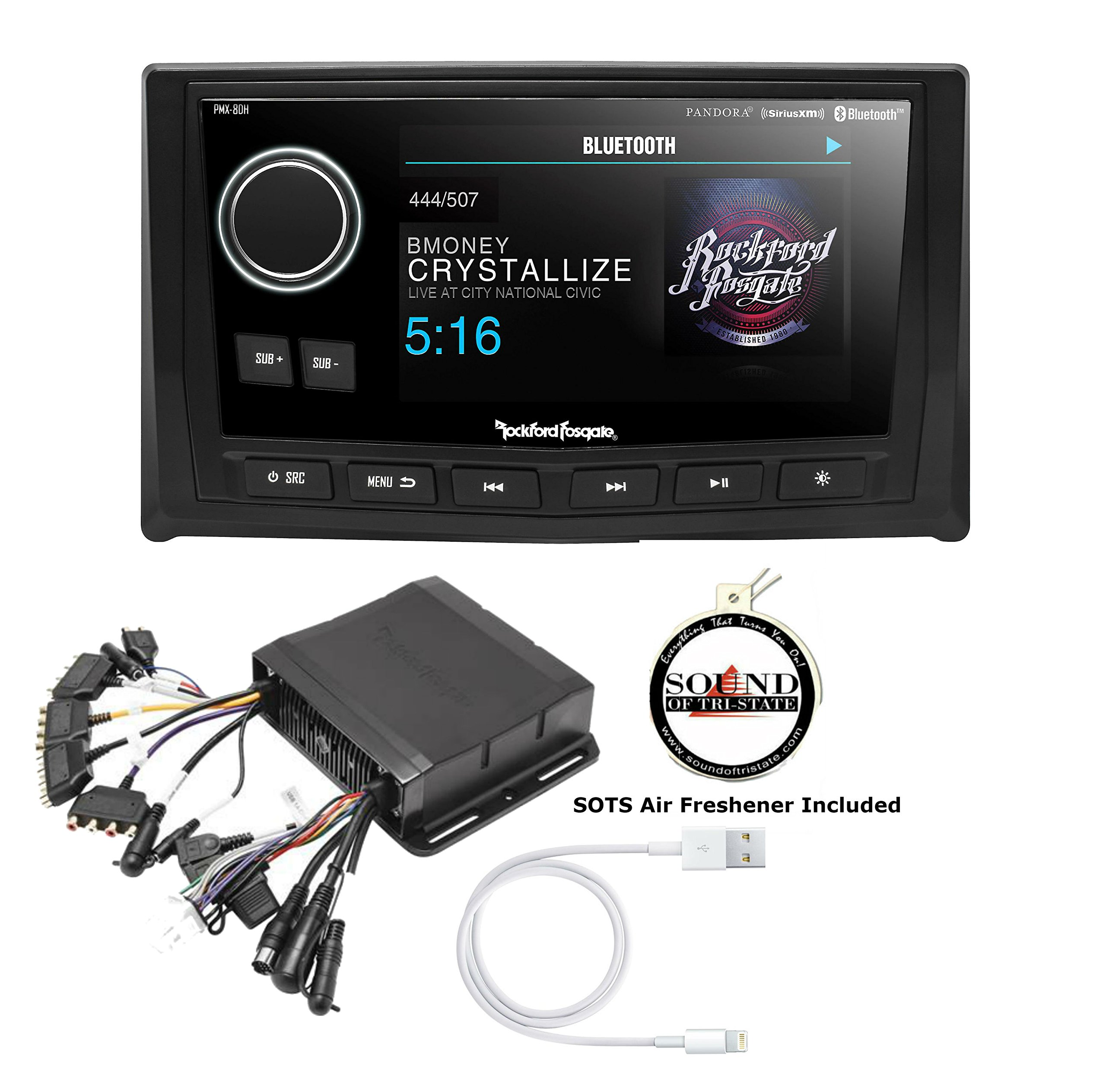 Rockford Fosgate PMX-8DH Wired Remote with Display and PMX-8BB Hideaware Digital Media Receiver with Lightening to USB Adapter and FREE SOTS Air Freshener