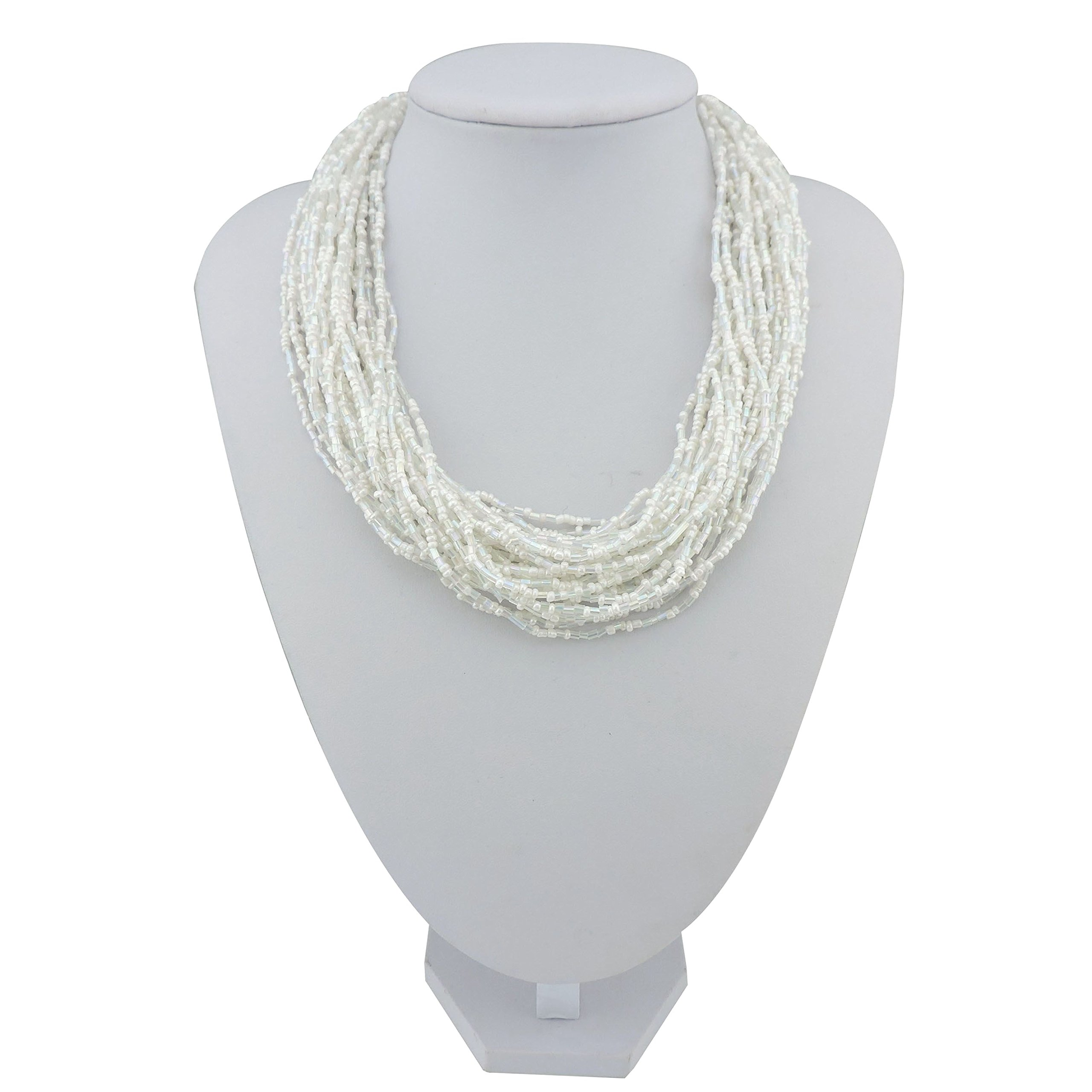 Bocar Multiple Strand Handmade Beaded 16'' Statement Collar Necklace for Women with Gift Box (NK-10402-white)