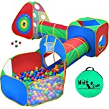 5pc Kids Ball Pit Tents and Tunnels, Toddler Jungle Gym Play Tent with Play Crawl Tunnel Toy, for Boys babies infants Childre
