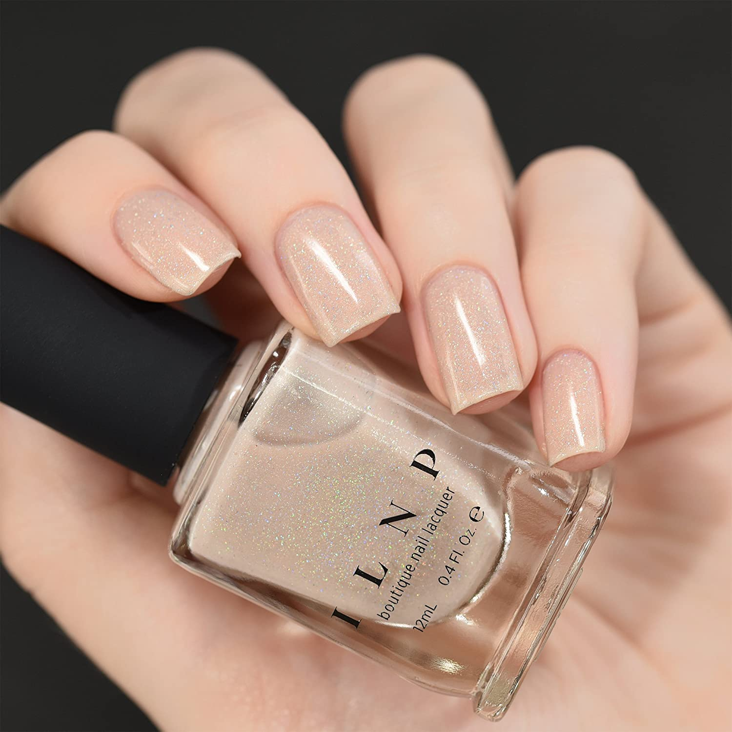 Amazon.com : ILNP Elle - Almond Nude Holographic Sheer Jelly Nail ...