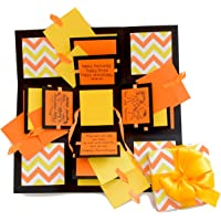 Crack of Dawn Crafts 3 Layered Happy Explosion Box (Yellow Chevron)