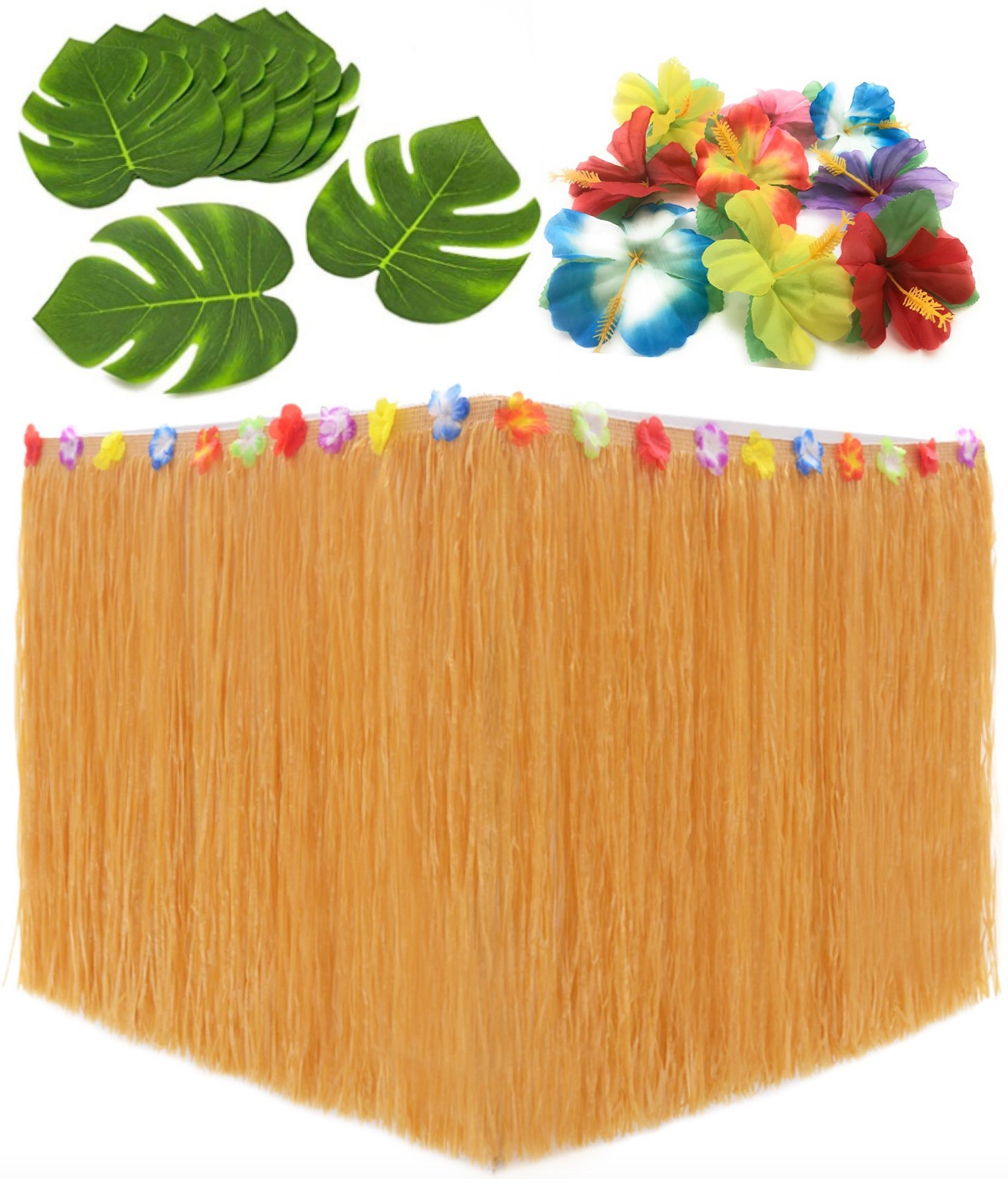 Moana Birthday Party Supplies. Hawaiian Decorations Bundle of 1 Beige Grass Table Skirt + 24 Hibiscus Flowers + 12 Tropical Leaves. Hula, Luau, Maui, Hawaiian, Moana Themed Party Decorations Set