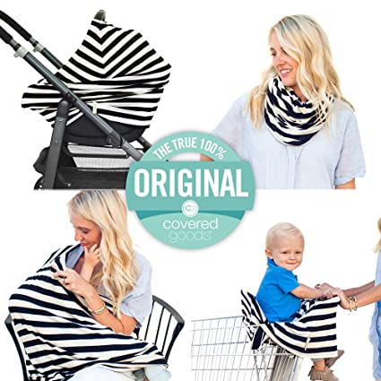 Heather Gray Solid Pattern Shopping-Cart Cover and Trendy Scarf 5-in-1 Baby Breastfeeding Cover Car-Seat Cover Must-Have for Nursing Mothers /& Babies