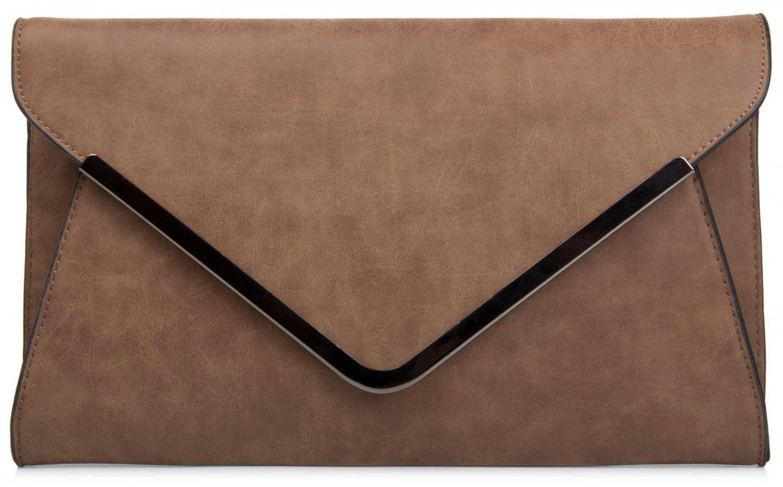 styleBREAKER Envelope Clutch, Abendtasche im Kuvert Design mit Schulterriehmen und Trageschlaufe, Damen 02012047 Farbe:Camel