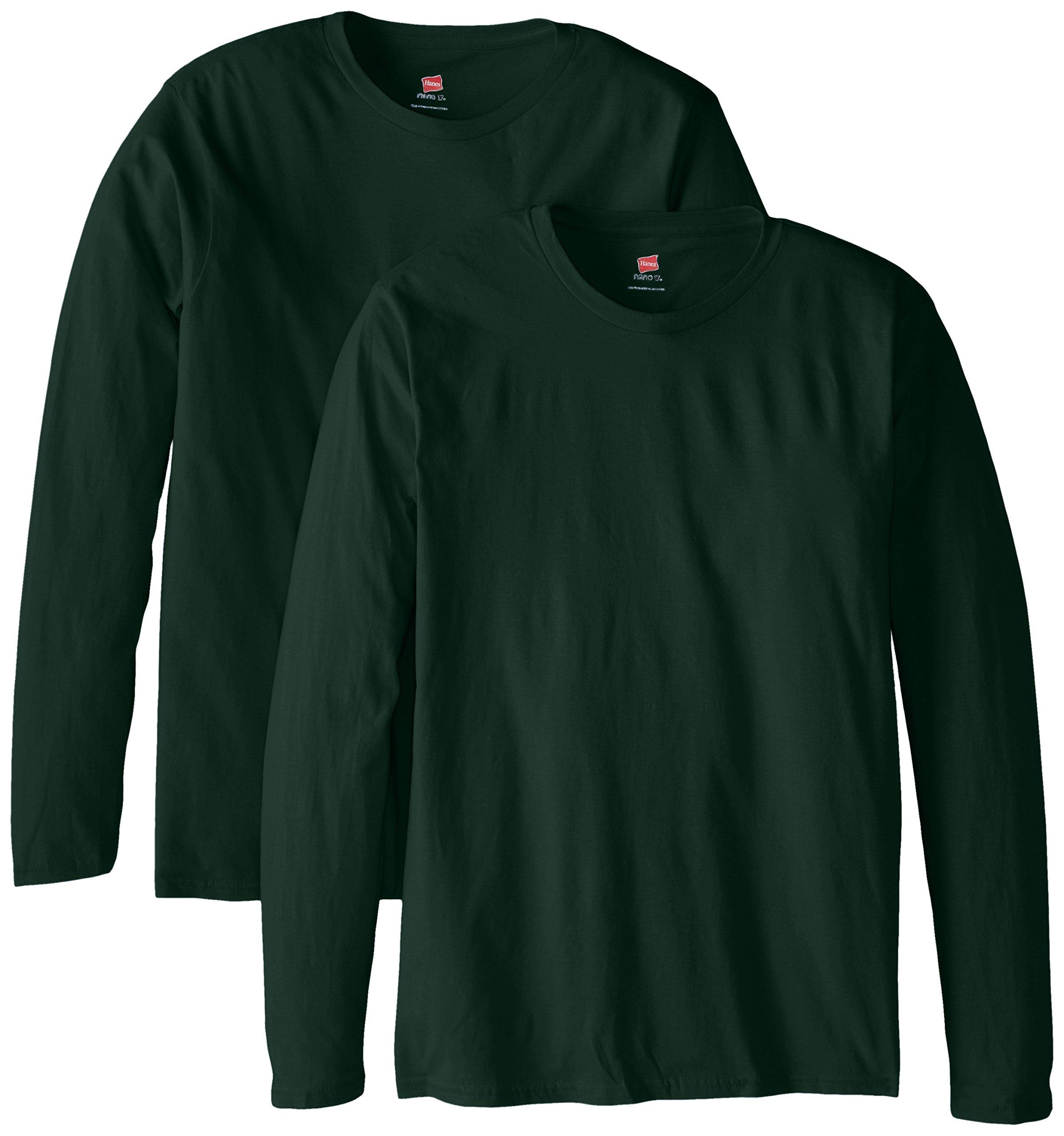 Hanes Men's Long Sleeve Nano Cotton Premium T-Shirt (Pack of 2), Deep Forest, Large