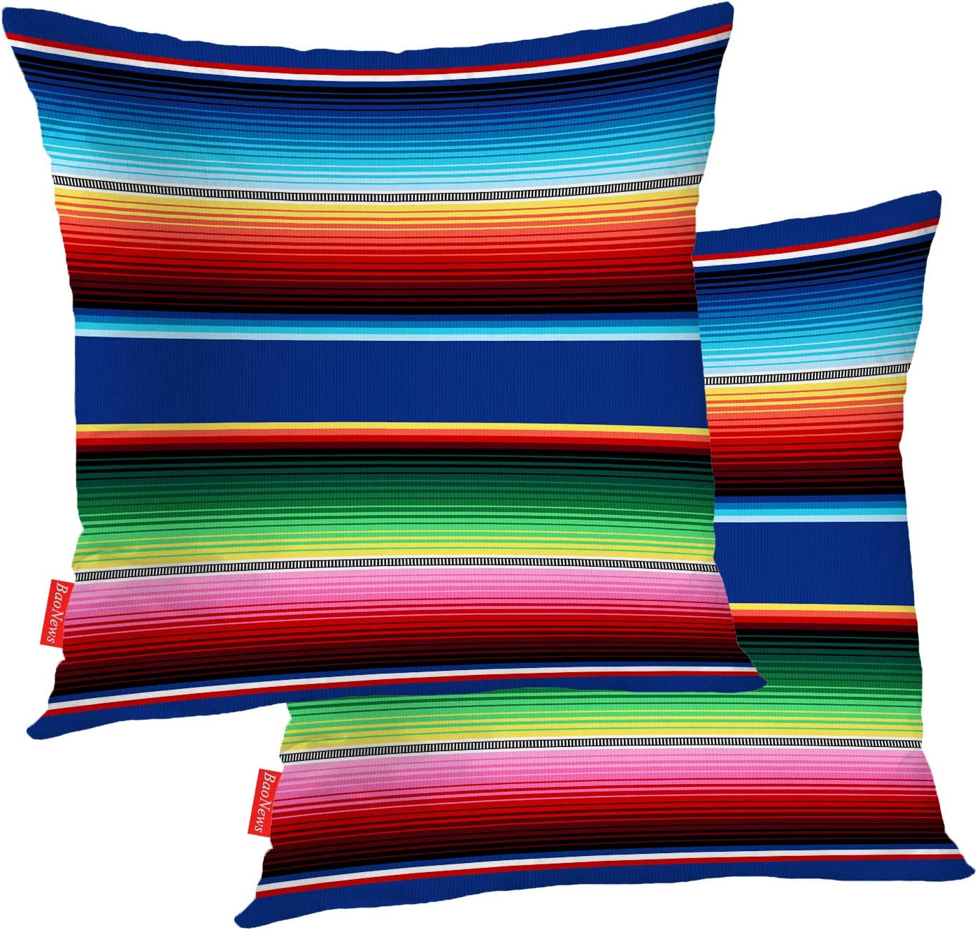 BaoNews Mexican Colorful Pillow Covers, Stripes Pattern Party Decor Ethnic Mexican Fabric Square 16 x 16 Inches Decorative Throw Pillow Covers Cotton Cushion for Sofa Bedroom Car, Yellow, Set of 2