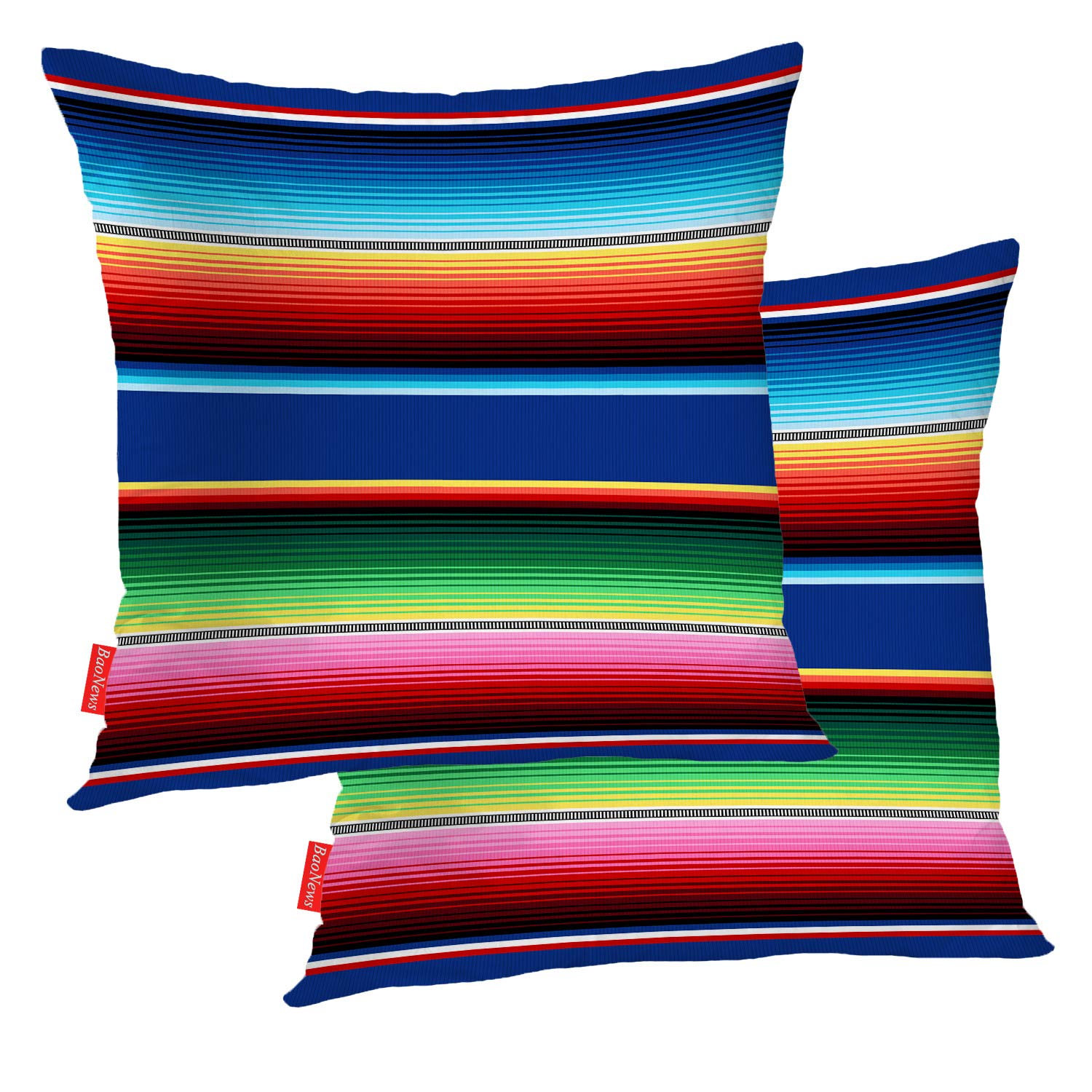 BaoNews Mexican Colorful Pillow Covers, Stripes Pattern Party Decor Ethnic Mexican Fabric Square 18 x 18 Inches Decorative Throw Pillow Covers Cotton Cushion for Sofa Bedroom Car, Yellow, Set of 2