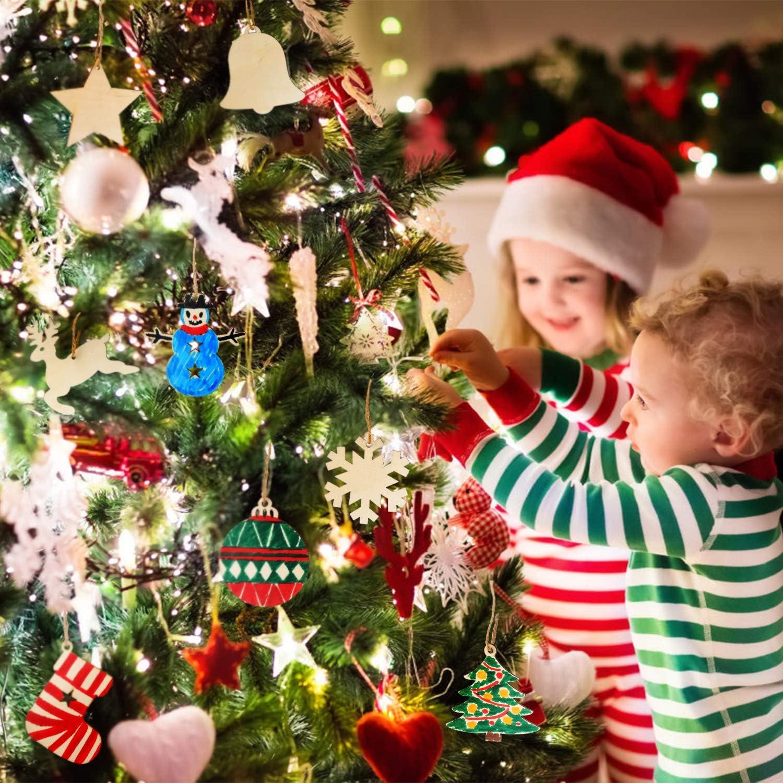 EKKONG Tannenschmuck Holz Weihnachtsanh/änger 80 St/ücke basteln Weihnachten Tannenschmuck deko DIY Holz anh/änger Baum Geschenkanh/änger Holz Scrapbooking Elch Schneeflocke zum selbst bemalen