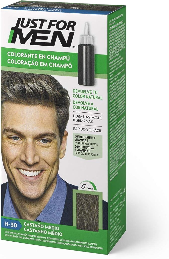 Just For Men - Champú colorante para cabello masculino, elimina las canas y rejuvenece el cabello en 5 minutos, 30 ml, marrón medio (El Empaque Puede ...