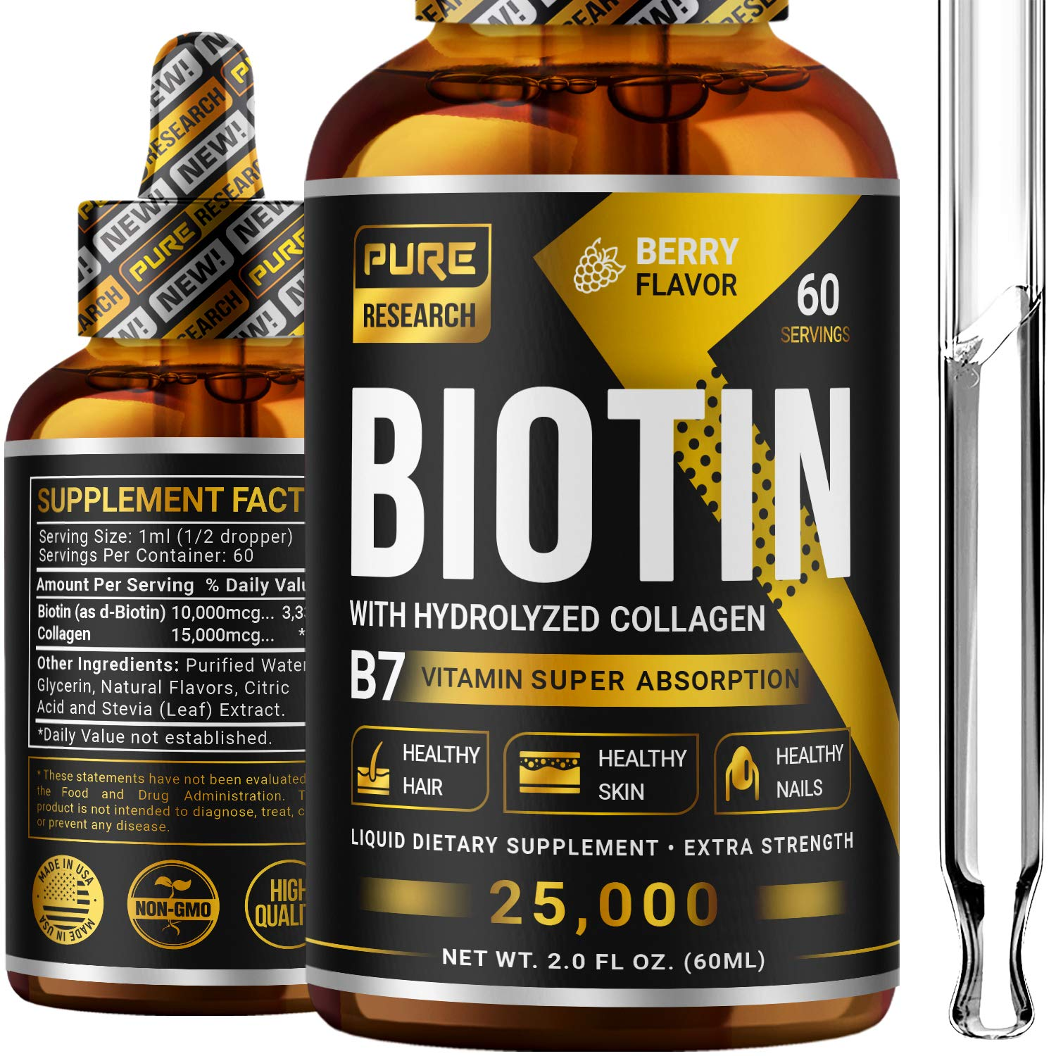 Biotin & Collagen 25,000mcg Hair Growth Liquid Drops, Supports Strong Nails, Glowing Skin, Healthy Hair Growth, 3X More Absorption Than Capsules & Pills
