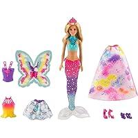 Barbie Dreamtopia poupée Arc-en-ciel coffret 3 en 1 blonde avec trois tenues multicolores de princesse, sirène et fée , jouet pour enfant, FJD08