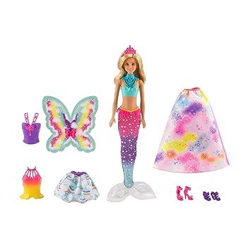 Barbie Dreamtopia poupée Arc,en,ciel coffret 3 en 1 blonde avec trois tenues