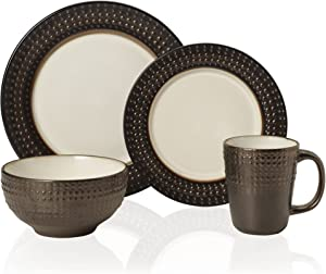 Gourmet Basics by Mikasa Avery 16 Piece Dinnerware Set (Set of 4), Assorted