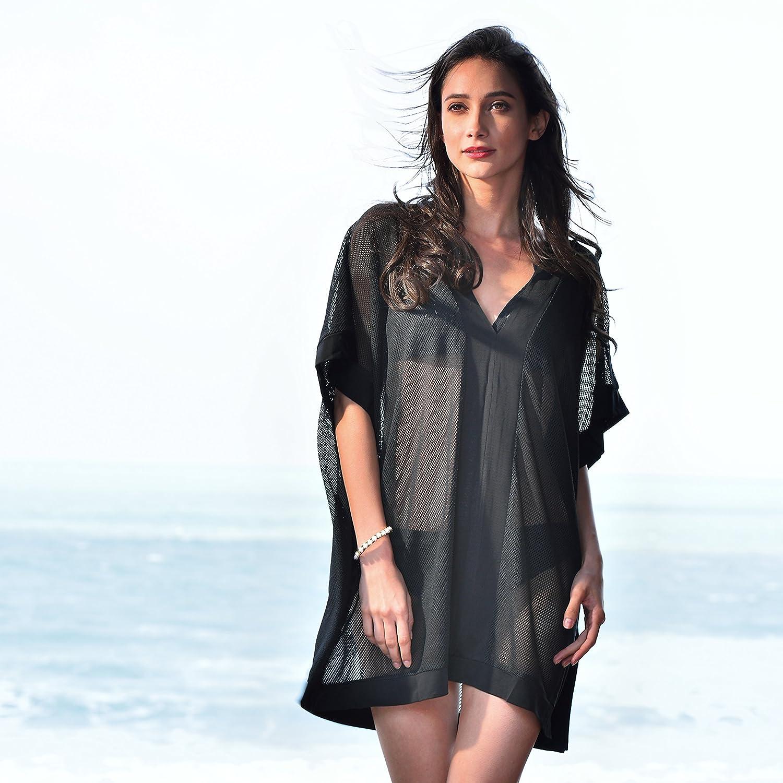 080f81d638 MyGift Plus Size Black Crochet VNeck Kimono Swimwear Tunic Mesh Short Beach  Dress: Amazon.in: Clothing & Accessories