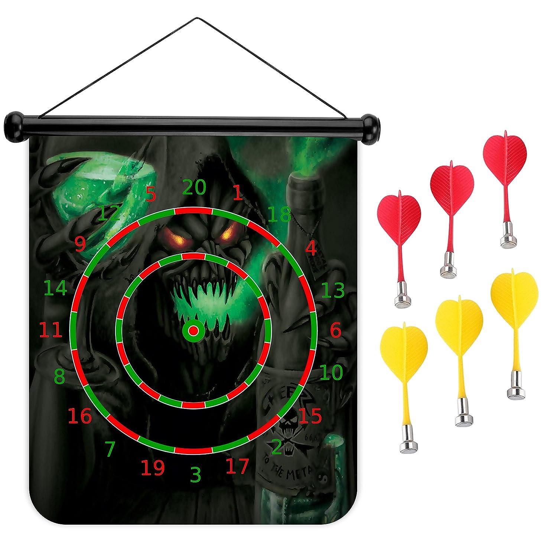 15インチMagnetic Dart Board Double Sided Hanging Dart Board Set and Bullseyeゲーム。スカル死神 B079M9D6K6
