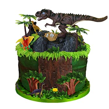 Amazon.com: Decoración para tarta de dinosaurio, diseño de ...