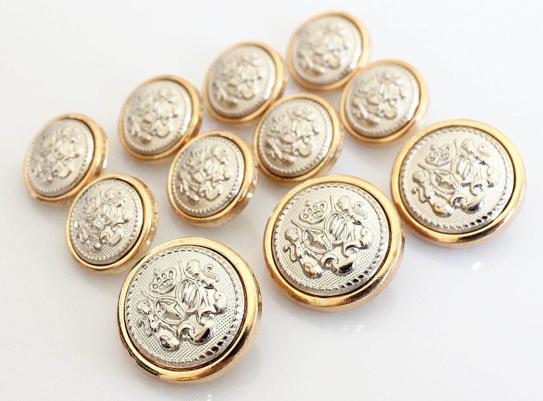 YCEE 11 Pieces Polished GOLD with Inlaid SILVER Metal ~LION & STALLION ROYAL CREST Shank Style Sport Coat BLAZER BUTTON SET YCEE Studio 4337004751
