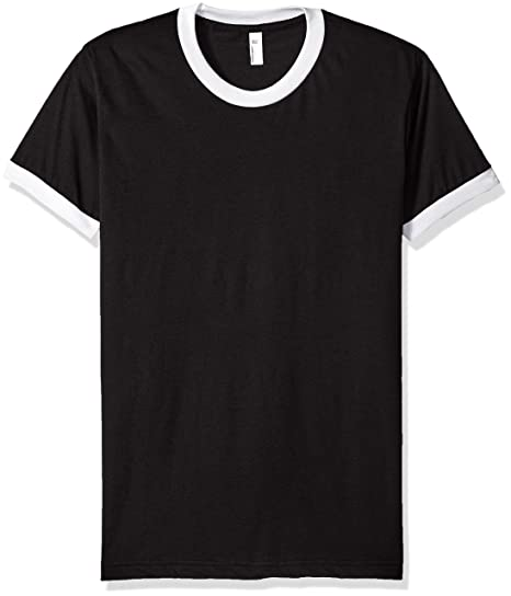 0d32a36f68df American Apparel Men's Poly-Cotton Short Sleeve Ringer T-Shirt, Black/White