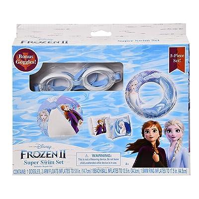 Frozen2 - 5pc Swim Set:Goggles, Swim Ring, Beach Ball & Two Arm Floats: Toys & Games