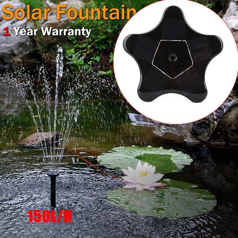 Handfly Solar Bird Bath Fountain Pump Solar Fountain Water Pumps Panel Kit Outdoor Birdbath Watering Submersible Pump for Garden and Patio(7V/1.4W,4 Water Flows pattern,star shape)