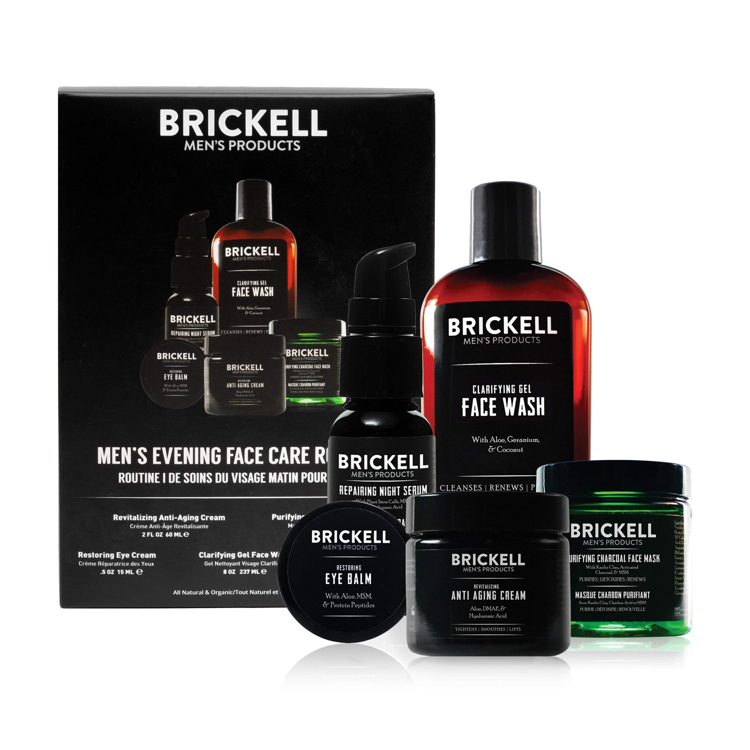 Brickell Men's Products Evening Face Care Routine I - Clarifying Gel Face Wash, Detoxifying Charcoal Mask, Eye Cream, Anti-Aging Night Cream & Repairing Night Serum - Natural and Organic - Scented