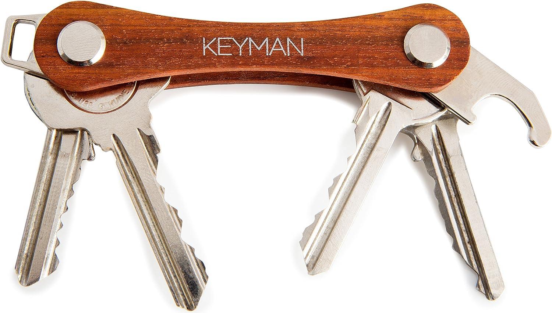 KEYMAN Organizador de Llaves Hecho de Madera | Key Organizer | Llavero con Elegante Caja de Regalo | Estuche de Madera para Las Llaves