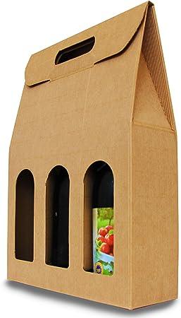 Extiff - Juego de 3 cajas con ventana para botella, cartón 100% reciclable, marrón, 3 Bouteilles: Amazon.es: Hogar