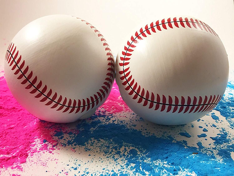 Gender Reveal Baseballs | Set of Premium Exploding Vibrant Pink and Blue Chalk | Extra-Powder Filled Baseballs | 2 Pack- 1 Pink 1 Blue for Gender Reveal Party!