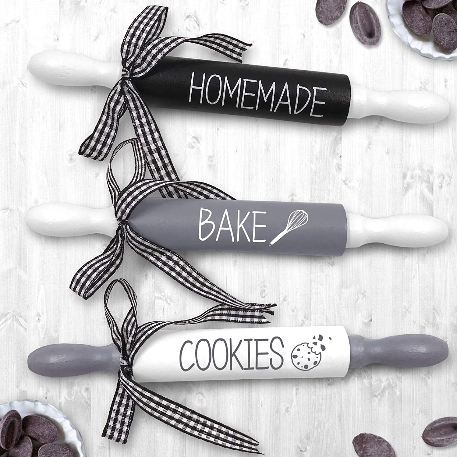 Bake Mini Rolling Pins - Wooden Decorative Favors Kitchen Farmhouse Tiered Tray Decor Set of 3 Rae Dunn Inspired Decoration Homemade Bake Cookies