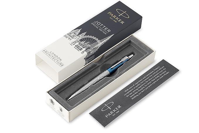 Parker Jotter - Bolígrafo, edición especial, azul Sky Blue Modern, punta mediana (0,7 mm), caja de regalo (2025828), tinta azul