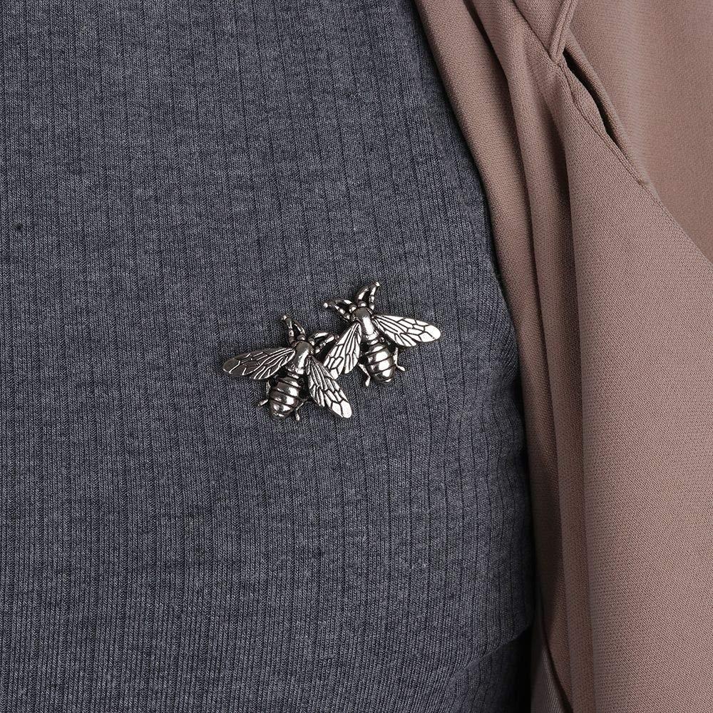 Dragonface Femmes Petit Frais Abeille Retro Homme Couleur Brooches Argent Or M/étal Collier Costume Vintage Mode Pins Tissu Accessoire 1 Paire