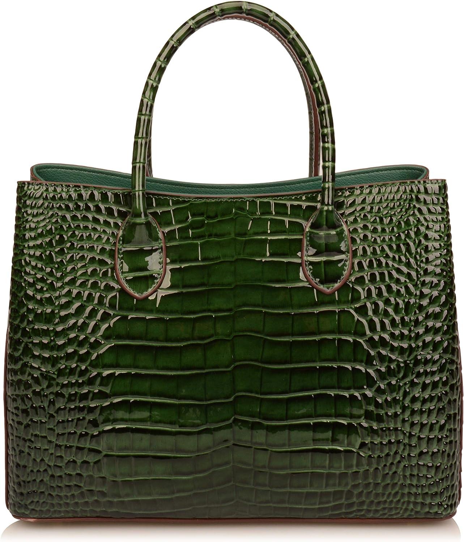 Ainifeel Women's Crocodile Embossed Patent Leather Purse Shoulder Handbags OL Bags