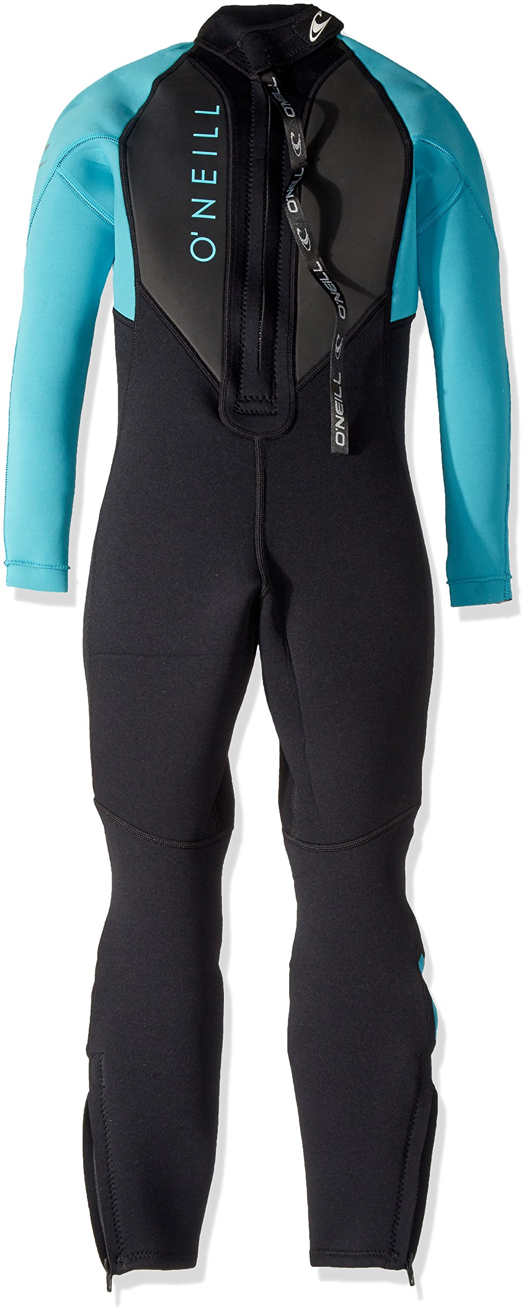 O'Neill Youth Reactor-2 3/2mm Back Zip Full Wetsuit, Black/Aqua, 6 by O'Neill Wetsuits (Image #2)